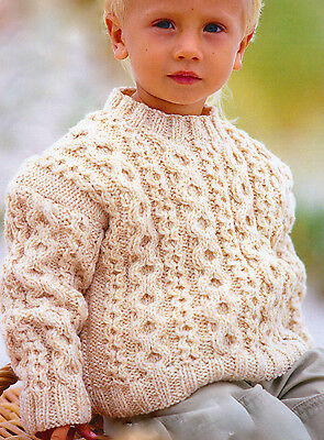 "Aran Cabled Round Neck Baby Childrens  Sweater 22"" - 32"" ~ 1-12 years To Knit"