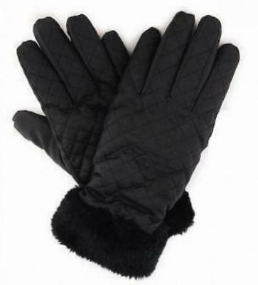 Ladies Black Quilted Padded Warm Winter Gloves Fleece Lining Faux Fur Cuffs