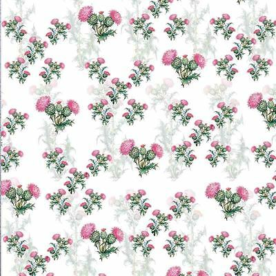 Scottish Thistle GIFT WRAP PACK 2 sheets luxury wrapping paper 2 gift tags PINK