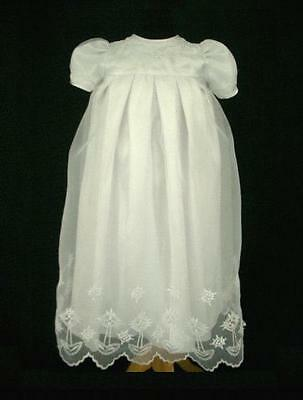 Infant Baby Girls Baptism Christening Gown & Bonnet Dresses - Size 000 00 0