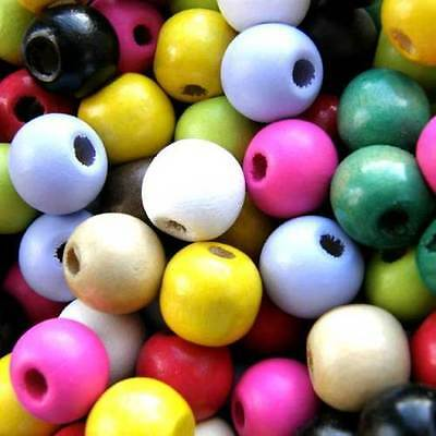 Wooden Round Beads, Pack 100, Choose Colour,  Wood Craft Bead, 12 mm