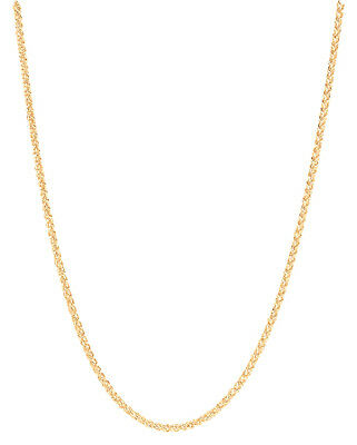 14K Solid Yellow Gold Round D/C Wheat Chain Necklace 0.6mm