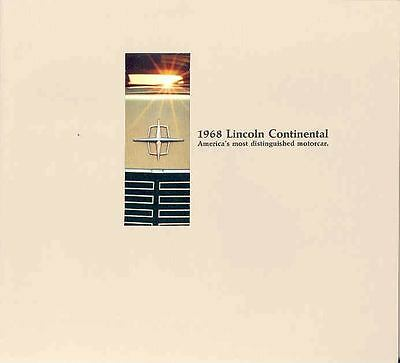 1968 Lincoln Continental Mailer Brochure 125548-78C3K6
