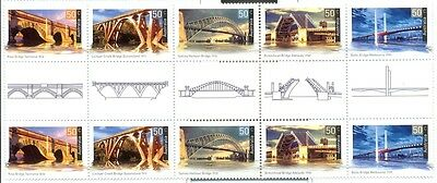 Stamps Australia Landmark Bridges commemorative set of 5 in gutter strip of 10