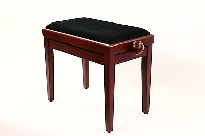 Piano Stool - Legato Adjustable Height Wooden Bench - Padded Seat Satin Mahogany