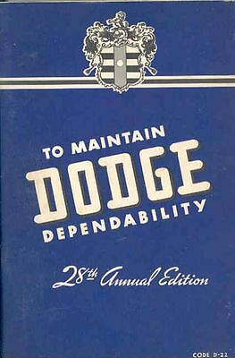 1942 Dodge D22 Owners Manual 1st Edition om1061-MK5897