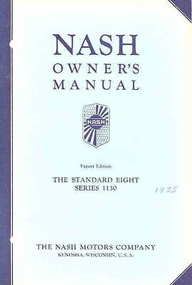 1933 Nash Standard Eight Series 1130 Export Manual om426-TF5WRB