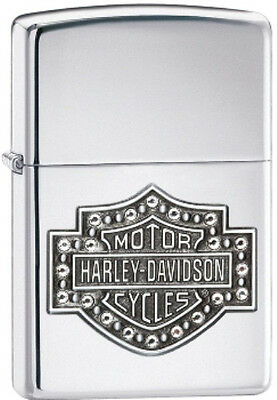 Zippo Harley Davidson Shield w/ Crystals High Polish Chrome Lighter Model 28349