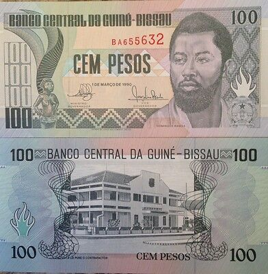 Guinea Bissau 1990 100 Pesos Unc Note P-11 Nice Details Buy From A Usa Seller !!