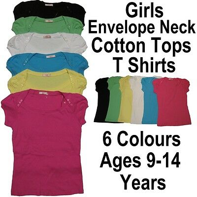 Girls Fashionable Envelope Neck Top T Shirt Ages 9-14 Years Summer Skinny Fit
