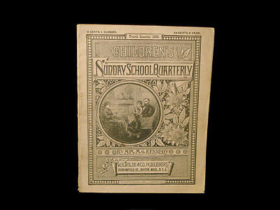 1893 Childrens Sunday School Quarterly Booklet W/ Bicycle Advertisement ~ Mass
