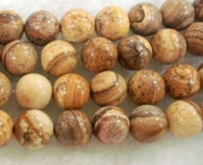"""6mm 15"""" round Chinese Picture stone gemstone loose beads"""