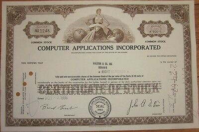 1966 Stock Certificate: 'Computer Applications, Inc.' - Brown