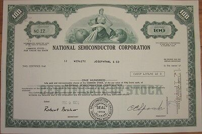 1970 Stock Certificate: 'National Semiconductor Corp.' Texas Instruments - Green