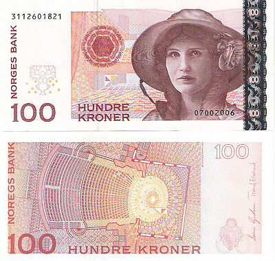 NORWAY 100 Kronor Banknote World Paper Money UNC Currency Pick p-49c Note Bill