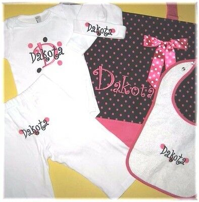 Personalized Dots Baby CREEPER T Shirt HAT BIB PANTS & Diaper TOTE BAG Gift Set