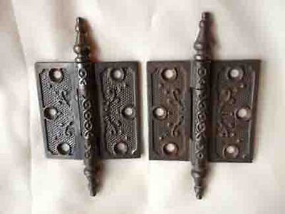 "Pair of cast iron ornate hinges 3""x3"""
