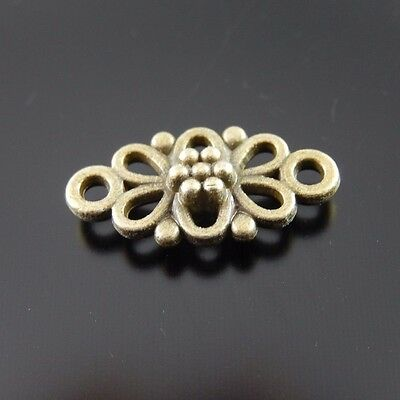 120X Vintage Style Bronze Tone Flower Hollow Pendant Charms Findings 10*8*2mm