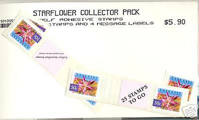 Stamps Australia Starflower peel & stick including tab pairs collector pack