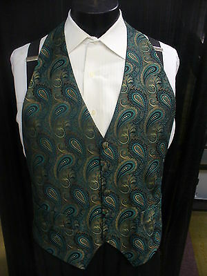 Formal Vest Backless Teal Paisley - Small