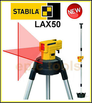 STABILA LAX50 Self Levelling Cross Line Laser Level +Tripod/Telescopic Pole Kit