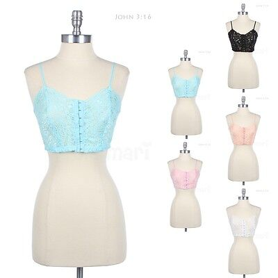 Full Lace Hook and Eye Closure Front Crop Tank Adjustable Spaghetti Strap Top
