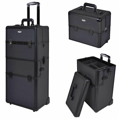 """2in1 Aluminum Rolling Cosmetic Makeup Artist Train Case Hair Style 38"""" Lock Box"""