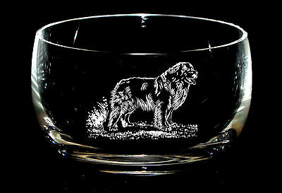 STANDING LEONBERGER *DOG GIFT* 12.5cm Boxed CRYSTAL GLASS SWEET BOWL