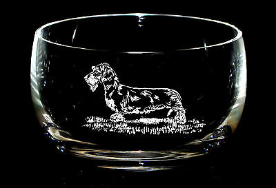 WIRE HAIRED DACHSHUND  *DOG GIFT*  Boxed 12.5cm CRYSTAL GLASS SWEET BOWL