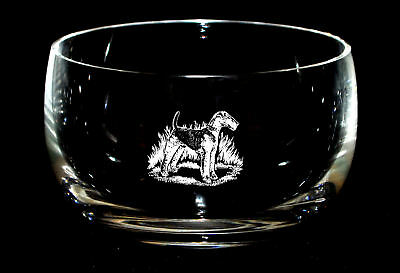 AIREDALE TERRIER *DOG GIFT* 12.5cm Boxed CRYSTAL GLASS SWEET BOWL