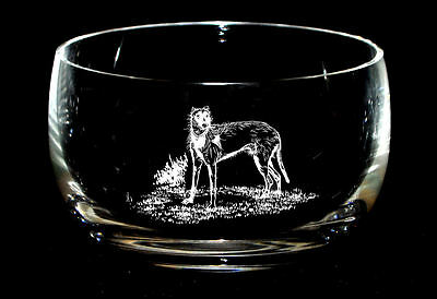 LURCHER  *DOG GIFT* 12.5cm Boxed CRYSTAL GLASS SWEET BOWL