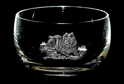 KEESHOND *DOG GIFT* 12.5cm Boxed CRYSTAL GLASS SWEET BOWL
