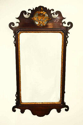 Antique George III Mahogany Parcel Gilt Wall Mirror