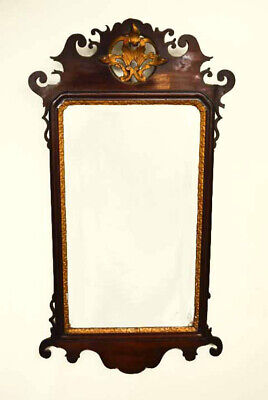 Antique George III Mahogany Parcel Gilt Wall Mirror 94 x 51 cm