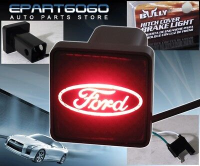 """Bully Rear 2"""" Trailer Towing Hitch Receiver Cover Logo Brake Light For """"ford"""""""