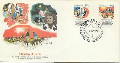 Stamps Australian 1981 Christmas pair on USA producer Fleetwood FDC uncommon