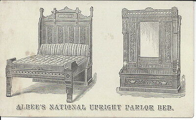 Illus Business Card, Albee's Upright (Convertible) Parlor Bed, c1870s
