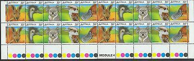 Stamps Australia animal bottom strip of 20 with untrimmed MODULE 4 margin scarce