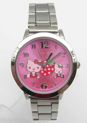 #16439H Lovely Designer Hello Kitty Hot Pink Face Watch w/Adj. Silver Link Band