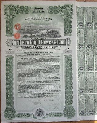 1909 Bond Certificate: 'Northern Light, Power & Coal Company' - Canada - $1000
