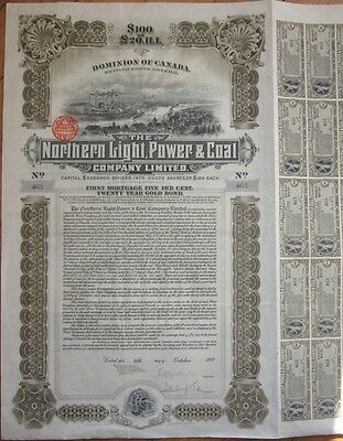 1909 Bond Certificate: 'Northern Light, Power & Coal Company' - Canada - $100