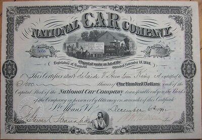 1902 Railroad Stock Certificate: 'National Car Company' - St. Albans, Vermont VT