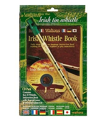 Irish Tin Penny Whistle Tutor - TRIPLE Pack New - Brass WHISTLE + BOOK + Play CD