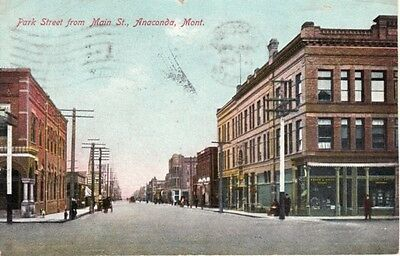 MT   ANACONDA   Park Street from Main Street  1909 postcard
