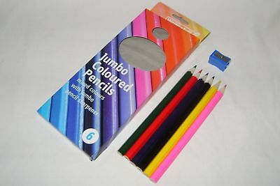 New Easy Grip 6 Colour Jumbo Colouring Pencils With Sharpener Disabled Chel