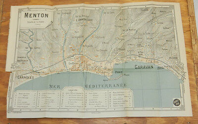 c1914 Antique COLOR Road Map of MENTON, FRENCH RIVIERA