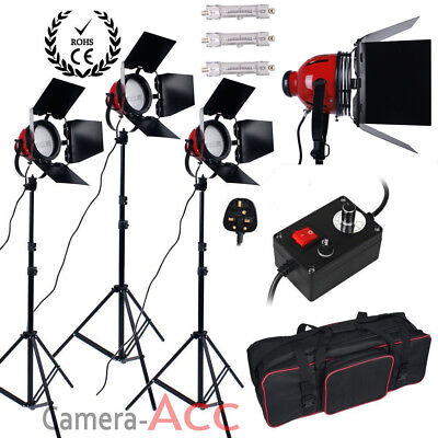 Upgrade 3x800W Red Head Continuous Studio Video Light Lighting Kit Dimmers Bag