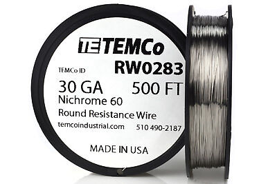 TEMCo Nichrome 60 series wire 30 Gauge 500 Ft Resistance AWG ga
