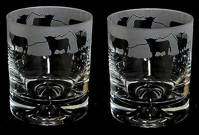 *HIGHLAND GIFT*  Boxed PAIR GLASS WHISKY TUMBLER with HIGHLAND CATTLE FRIEZE