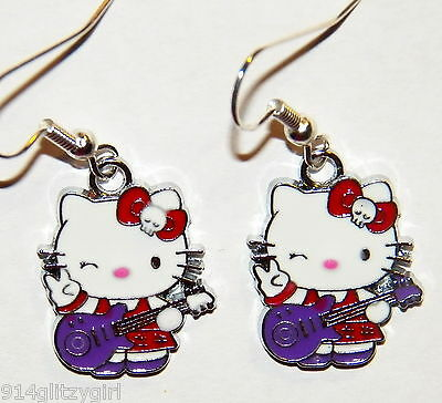 #16088 Hello Kitty Dressed in Red Playing a Guitar Charm Dangle Earrings